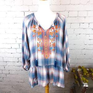 Unity World Wear boho plaid top w/ embroidery